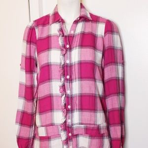 American Eagle Outfitters Pink Plaid Flannel Top 4